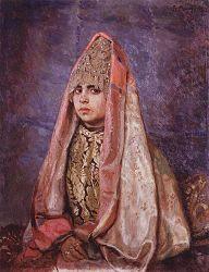 Она же  на картине В.М. Васнецова «Боярышня» (Портрет В.С. Мамонтовой) 1884г.