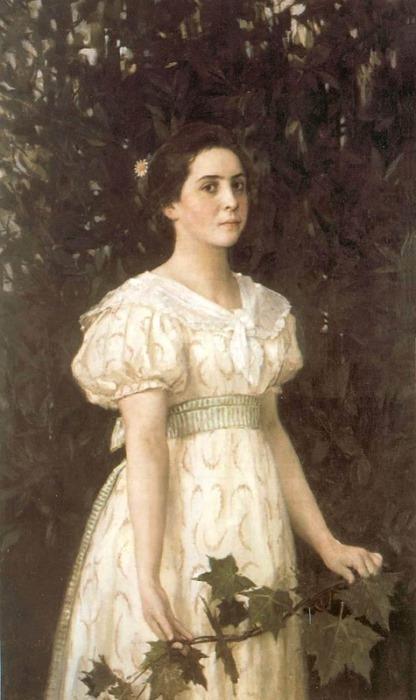 На другой картине В. Васнецова Девушка с кленовой веткой, 1896 г.