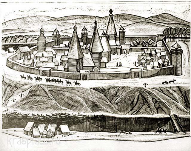 krasnoyarskij-ostrog-xvii-vek-gravyura