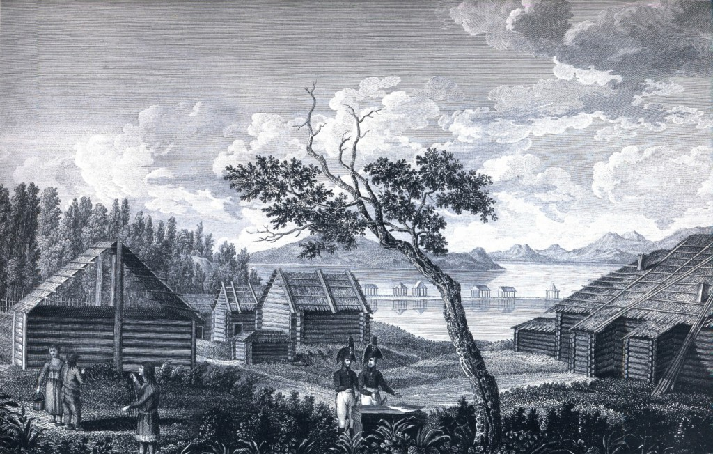 Гробница капитана Клерка в Петропавловске. (Резанов и Кошелев (слева) возле могилы по рис. Тилезиуса: Krusenstern, 1814, XXVIII