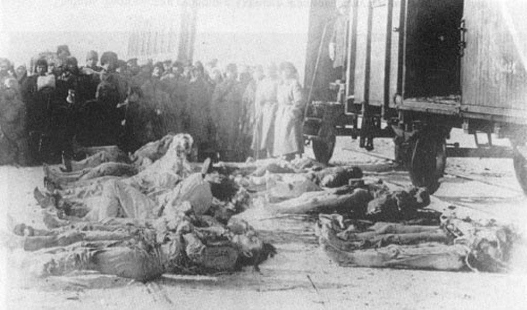 Жертвы «красного террора» в Сибири. 1920 год. Интересно, что в советской историографии этот снимок было принято приводить как образец «жертв колчаковщины»