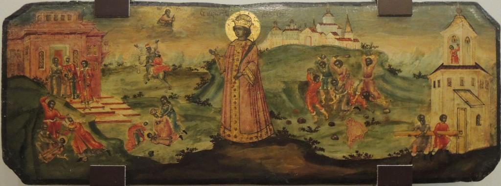 Икона страстотерпца царевича Димитрия XVII века. На изображении можно видеть сцены как его предполагаемого убийства, так и грянувшего затем в Угличе бунта